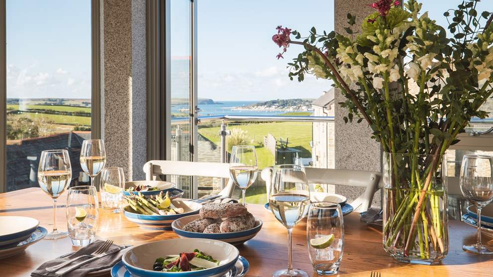 Spend long, luxurious lunches gazing at the incredible view over the Camel Estuary and out to sea...bliss!