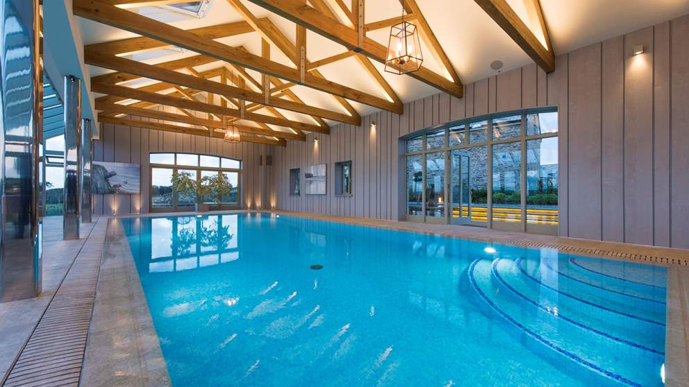 The incredible indoor swimming pool, heated to a perfect temperature