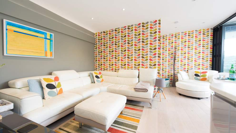 The Orla Kiely-inspired living space is bright and beautiful.