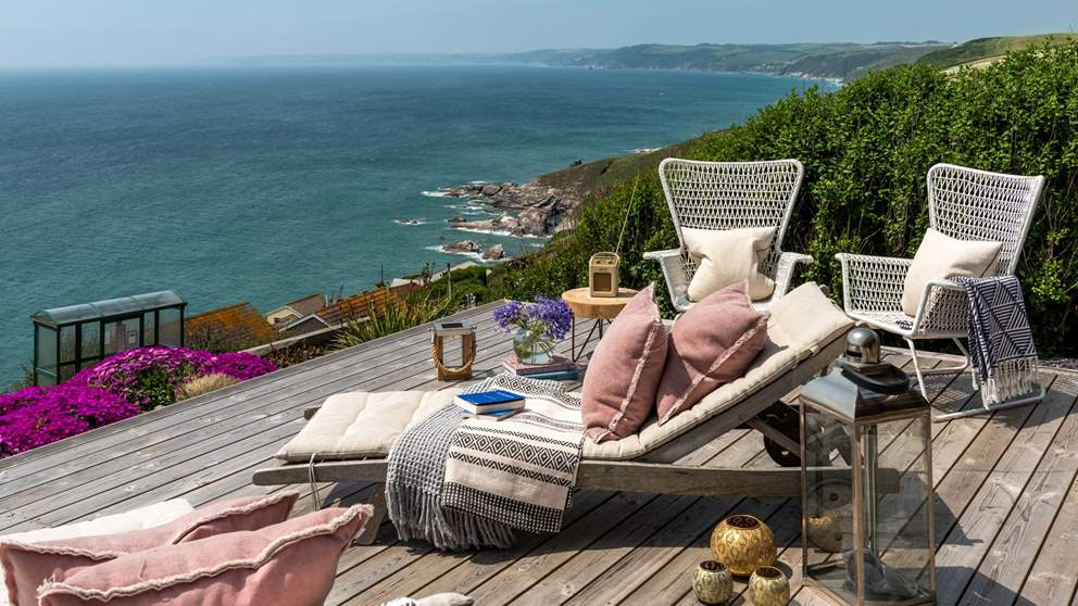 Perched high above spectacular Whitsand Bay in Cornwall with views to die for!