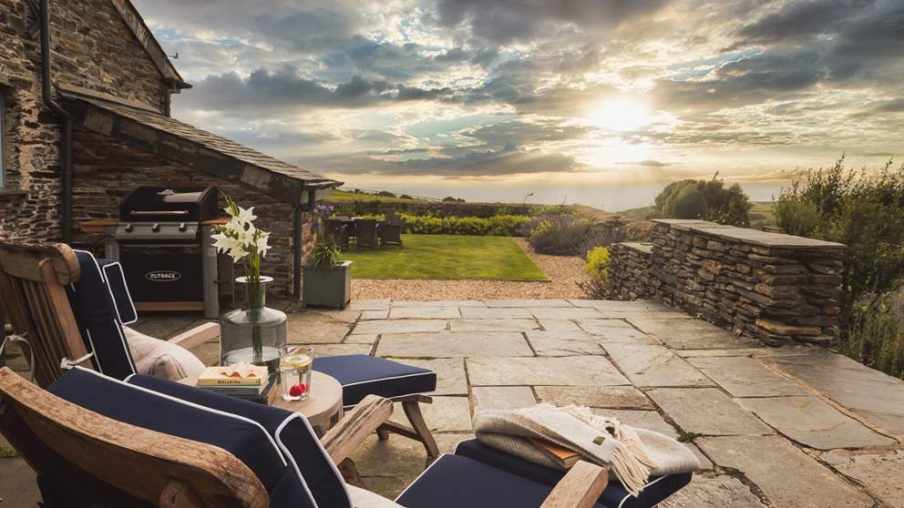 Unwind and gaze out to sea in the gorgeous garden