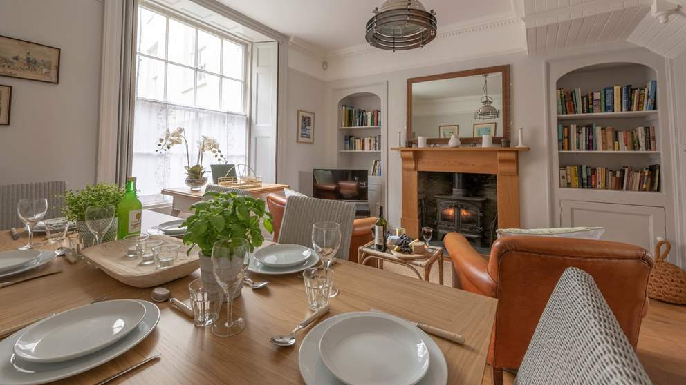 The gorgeous dining area has a lovely wood burner which makes things extra cosy at meal times.