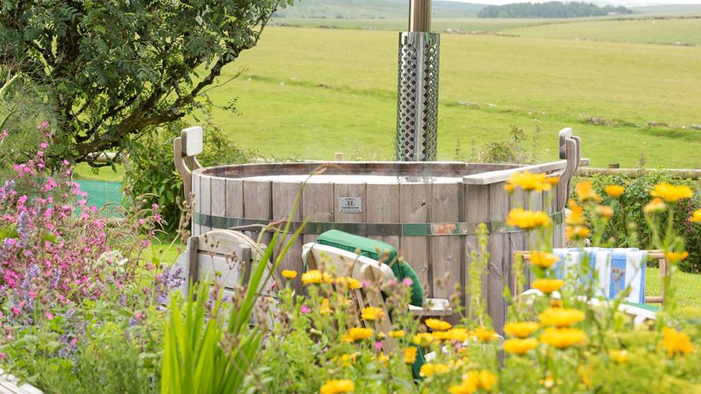 Take a dip in the hand-crafted wood-fired hot tub whilst gazing out over the moors - it doesn't get any better than this!
