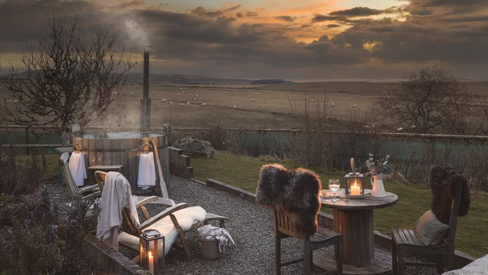 Nothing is more blissful than watching twilight descend whist in the warmth of the wood-fired hot tub - bliss!
