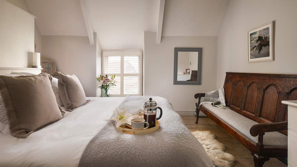 The wonderful master bedroom with huge, super-comfy bed is beautifully decorated and oh-so-peaceful.