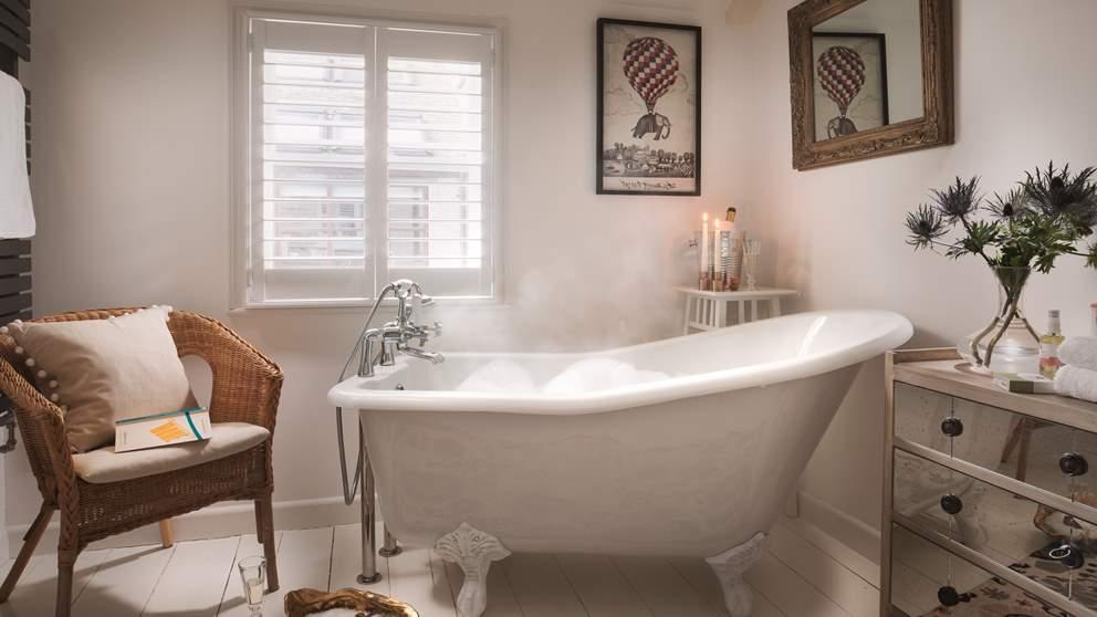 A beautiful slipper bath for long steamy soaks.
