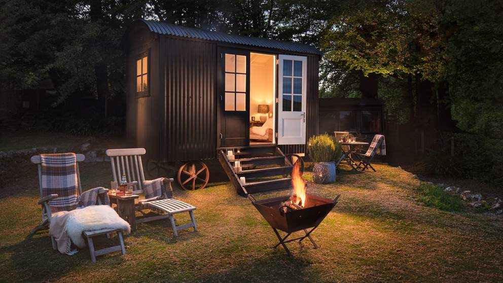 The stunning shepherd's hut in the garden is the ideal spot to watch the sun set over the moors.