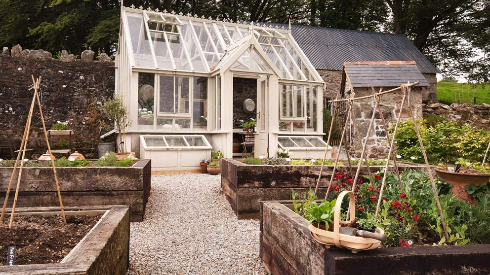 The pretty kitchen garden is a wonderful spot to pick your own veggies and fruit.