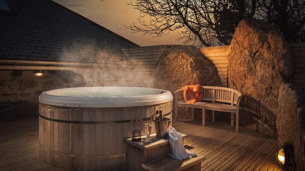 The bubbling hot tub at Sanctuary awaits...