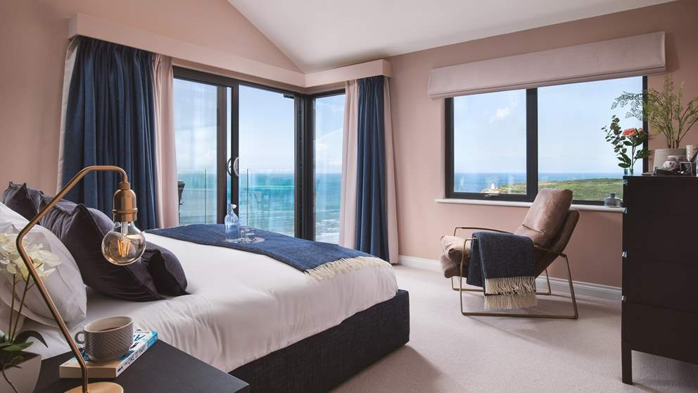 The master bedroom, with epic sea views and its own terrace