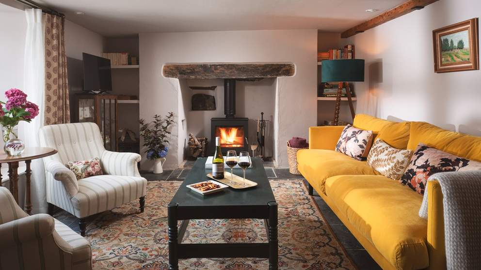 The super-cosy sitting room is so inviting..