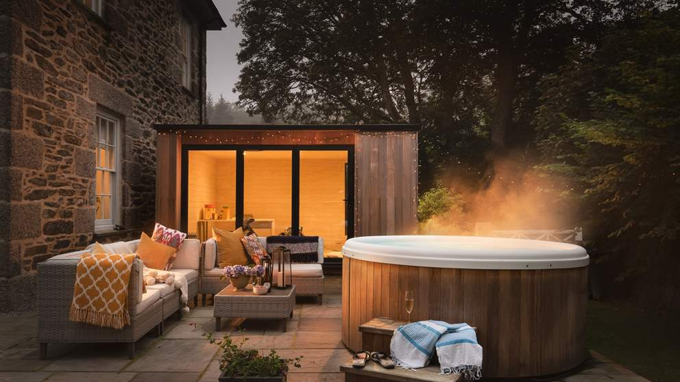 The bubbling, steaming hot tub awaits!