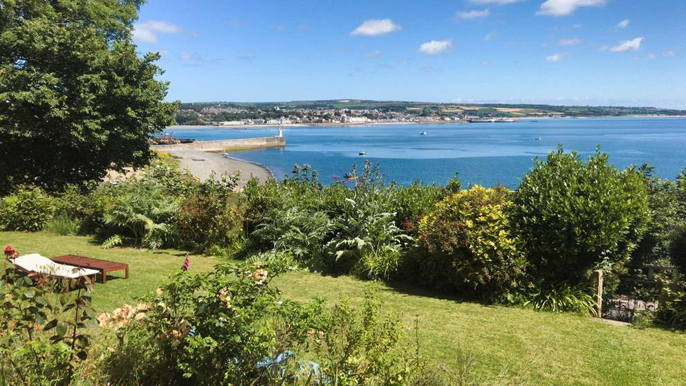 The view from Pembroke Lodge over Mount's Bay and towards Penzance.