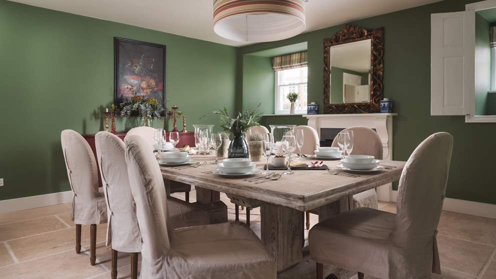 We adore the elegant dining room perfect for family feasting, adorned with vintage touches and antique treasures.