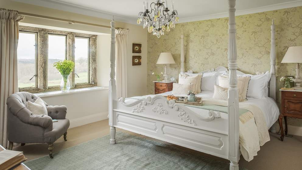 Woodbine' is gloriously pretty with a super king size colonial four poster bed