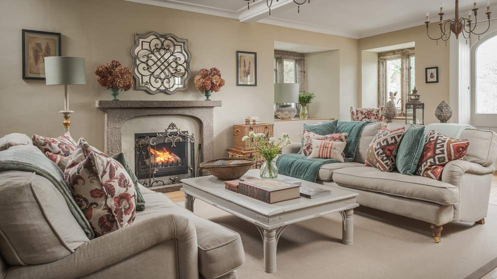 The stunning sitting room is the perfect settings for late evenings around the cosy jet master open fire