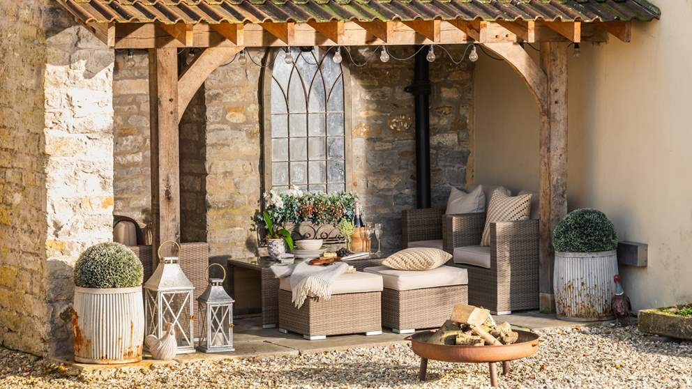 Huxham Croft has the most amazing garden - a sunny spot complete with bags of seating in which to sprawl,