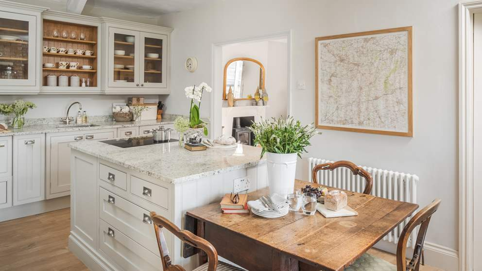 The gorgeous kitchen and breakfast room is the perfect space to come together