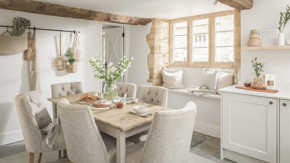 With warm, limestone walls, step through the door and you'll find an astonishingly pretty bolthole in the palest tones throughout