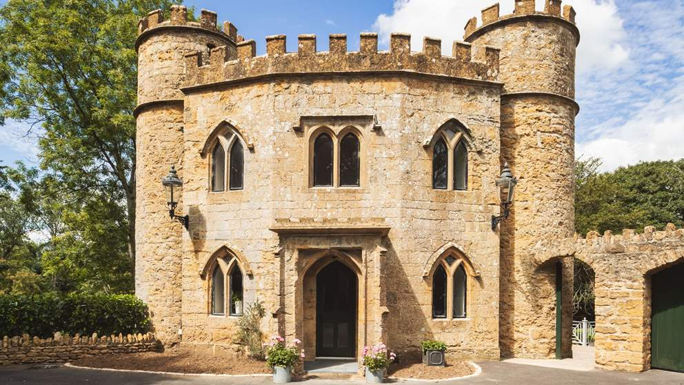 Sherborne Lodge is the principle gatehouse to the castle, sitting in an elevated position amidst rolling countryside.