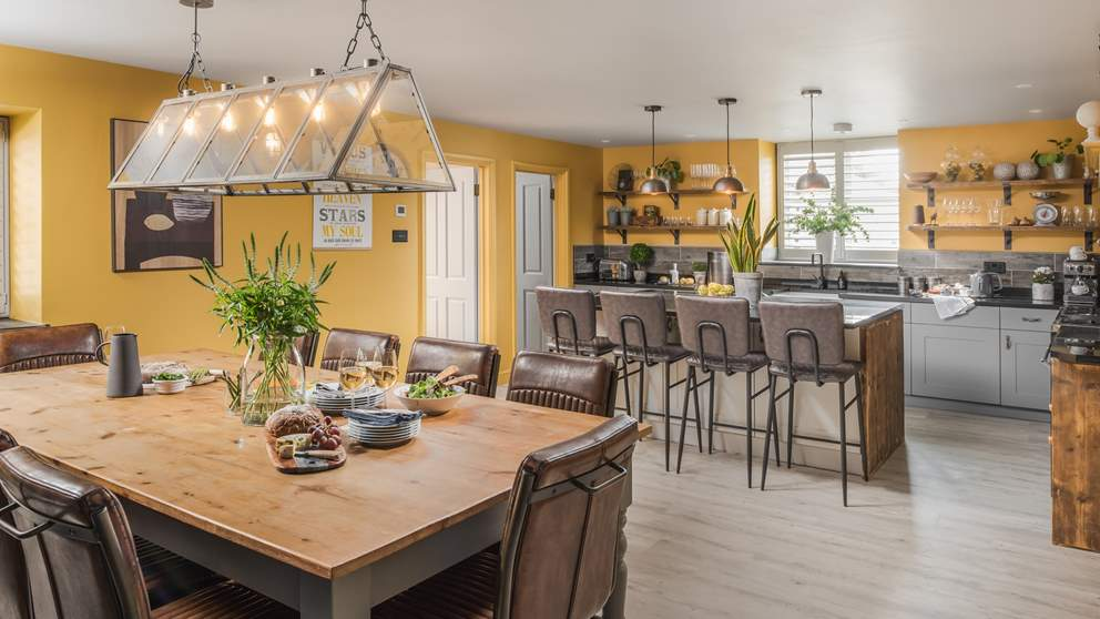 The large, open-plan kitchen and dining area is just perfect for get-togethers