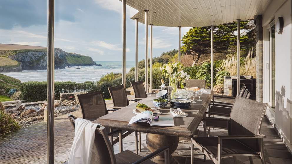 Enjoy meals overlooking Mawgan Porth Beach - the perfect setting for summery days, or wrapped up in blankets at night watching the stars