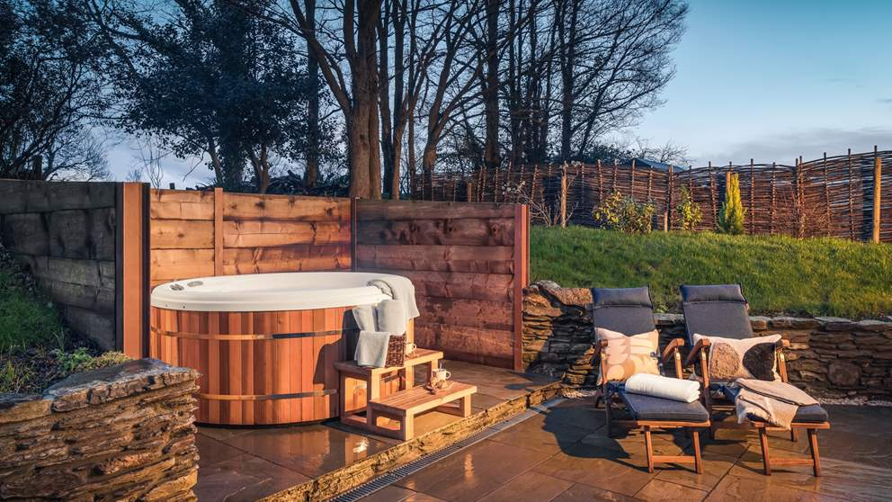The bubbling hot tub – the most wonderful spot whatever time of day, but it's particularly special when the sun has set