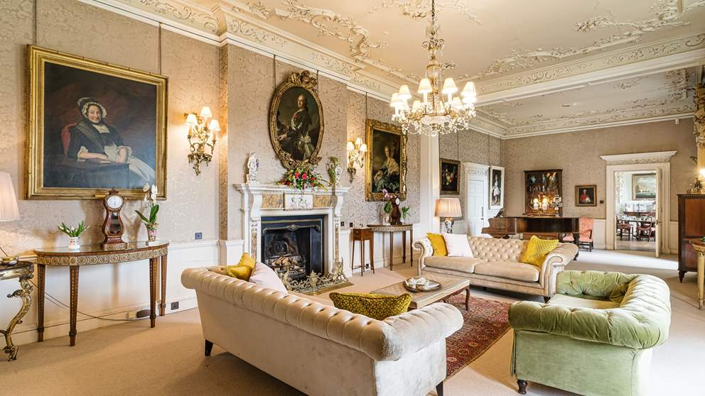 The elegant sitting room is just perfect for gatherings
