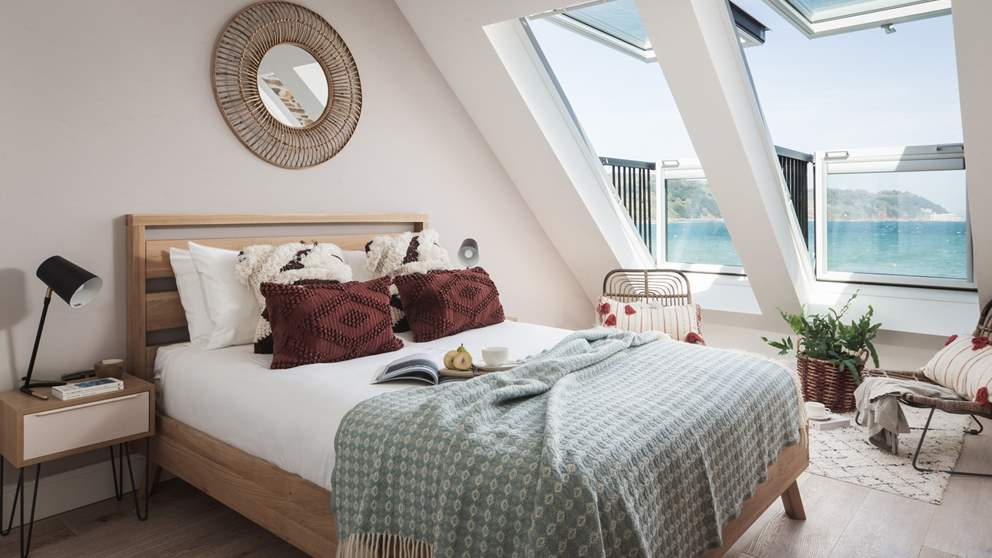 The second bedroom, with amazing sea views - bliss!