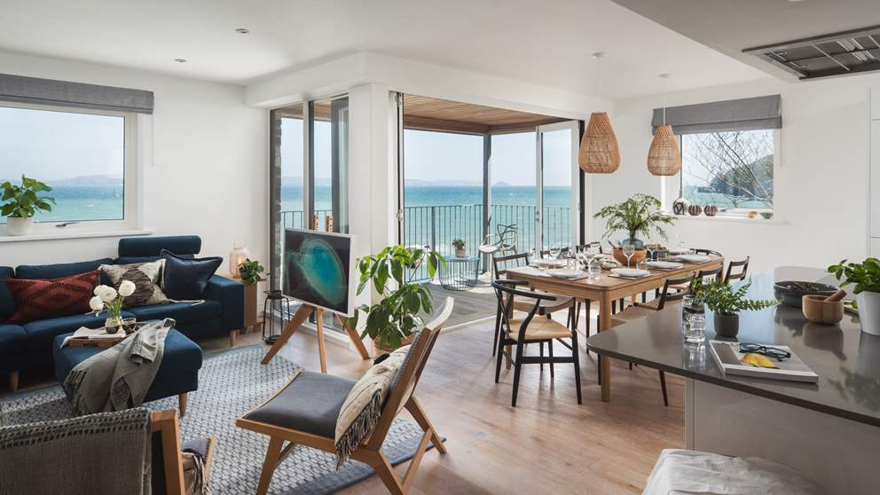Inside, open-plan living is the name of the game