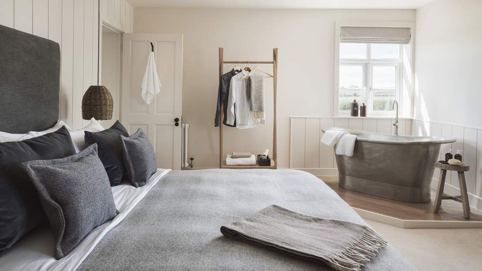 The oh-so-romantic master bedroom with dreamy London Encaustic metal bath - pure bliss!