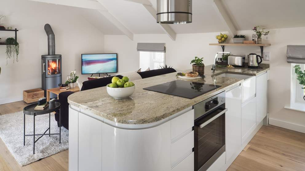 The sleek kitchen has everything you'll need to rustle up feasts