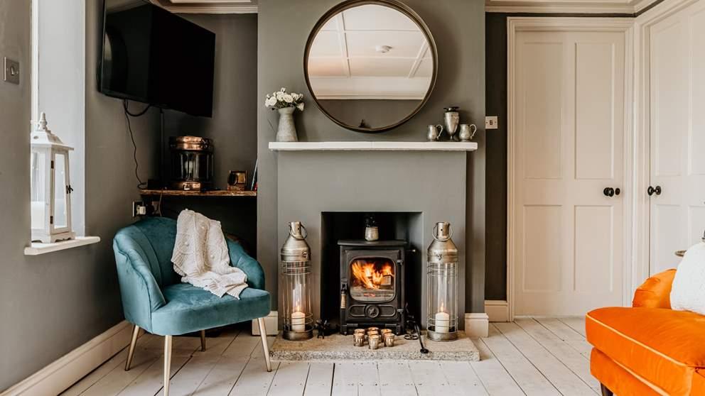 The flickering wood burner awaits...