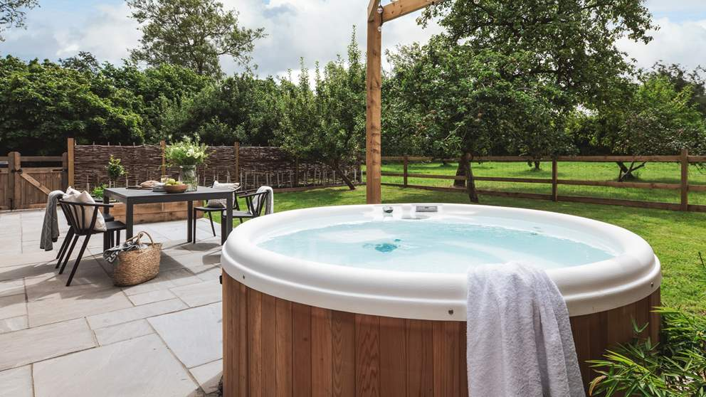 The bubbling hot tub awaits, the ultimate in relaxation whatever time of day