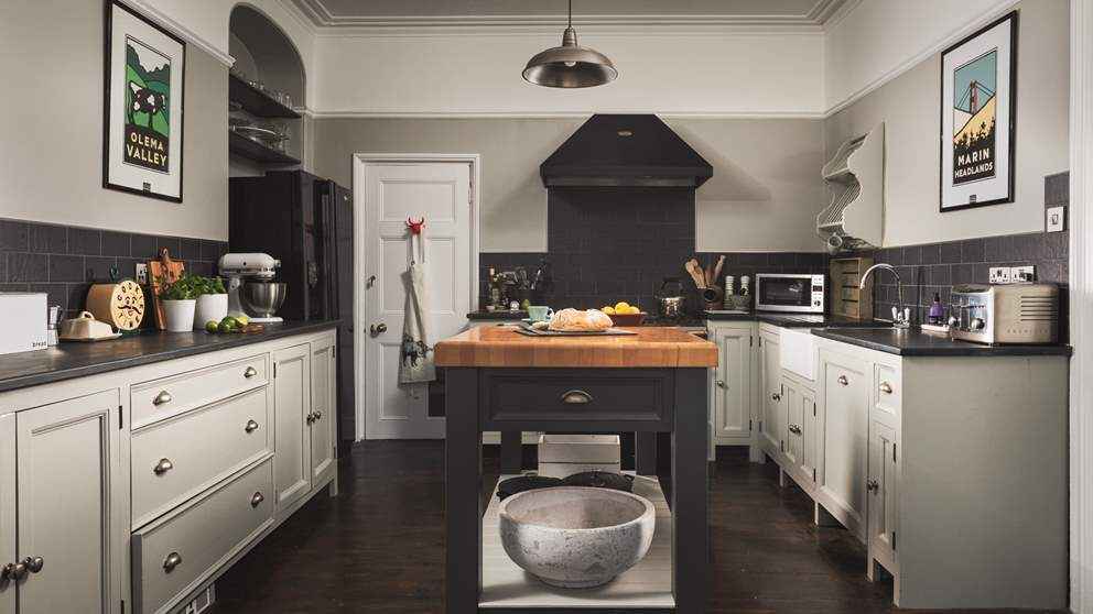 The kitchen is home to a Lacanche gas range cooker, island with butcher's block plus all the appliances you would expect plus more, such as a KitchenAid mixer!
