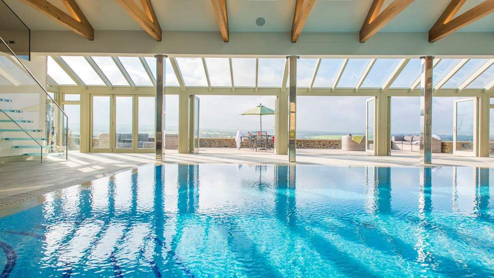 Trevear Mill House has shared use of a stunning heated indoor swimming pool and fantastic decking area overlooking the lush countryside
